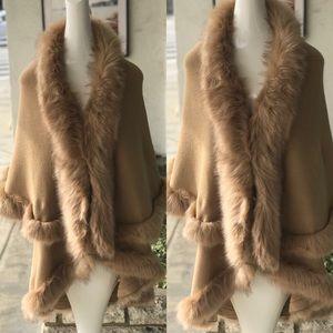 Luxurious Camel Faux Fur Double Layer Cape Coat